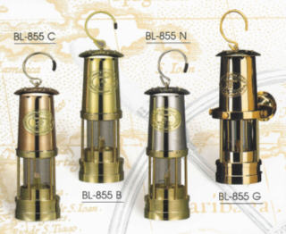 MINER'S LAMP OIL 10 INCH IN BRASS, COPPER OR NICKEL FINISH BL-855