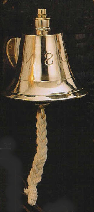6 INCH DIA SOLID BRASS BELL WITH QUEEN MARY, TITANIC OR U.S.N. F6300