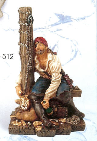 POLYSTONE PIRATE w/MAST 8.5 INCHES HIGH PS-512
