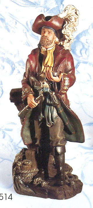 POLYSTONE PIRATE w/COMPASS 12.5 INCHES HIGH #PS-514