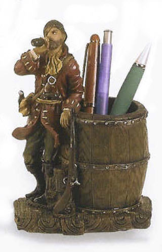 POLYSTONE PIRATE PEN HOLDER 6 INCHES HIGH #PS-464