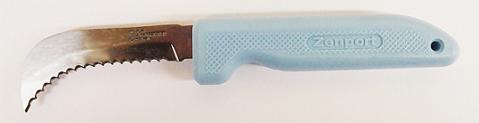 ZENPORT K104-BLUE SERRATED STAINLESS STEEL HARVEST/LANDSCAPE UTILITY KNIFE - BLUE HANDLE K104-BLUE